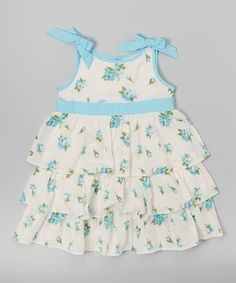 Look at this Aqua Floral Ruffle Dress - Infant & Toddler on #zulily today!