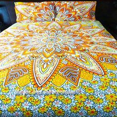 Yellow Lotus Flower Tapestry Duvet Cover and Pillowcases