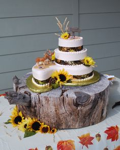 Camo Wedding Cake With The Most Awesome Rustic Wood Slab Base Ever