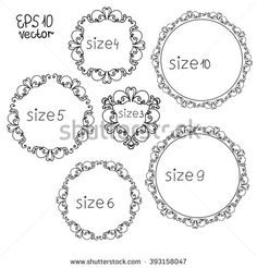 Set of round frames. Different sizes. Vintage isolated swirl. Vector EPS 10 - stock vector