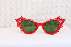 Red Devil 1950's Cat Eye Sunglasses Fancy by THAYEReyewear on Etsy
