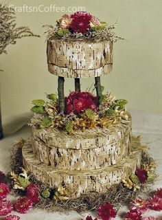 Wedding cake-this is fake, but I always wanted to play with fondant to create the look of birch bark...I think it could be done!