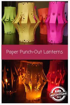 Embroidery On Paper paper punch-out lanterns - could be a fun camping project for a calm summer night. Make sure to use a flameless candle! - Here are directions on how to make a paper punch-out lantern. Ramadan Crafts, Diwali Craft, Summer Crafts, Fun Crafts, Summer Fun, Light Crafts, Fest Des Fastenbrechens, Lantern Crafts, Thinking Day
