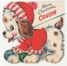 Vintage Greeting Card Christmas Cute Puppy Dog Hallmark Die Cut Double Sided  | eBay