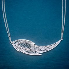 """Light as a Feather"" pendant - filigree sterling silver. by Marilie Jacob"