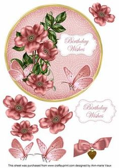 Pink Wild Rose Birthday Wishes 7in Circle Decoupage Topper by Ann-marie Vaux I have designed this topper to make a 7in topper for your cards, this is a circle shape and it will fit on a 7inch square card or trim the square card and round the corners for effect. The toppers are complete with decoupage and will look fabulous when you have made them. Use 3D foam or silicone glue for the decoupage pieces to give them alittle height for the layers. Please check the multi link for other colours…