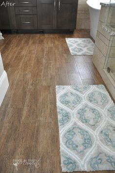 "wood tile floor. this is a good color not too warm...just a hint of cool ""ash"" color"