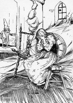 Yooniq images - Rumplestiltskin by Lilian Govey. The maiden distraught, unable to spin gold from straw. A fairy tale by the Brothers Grimm