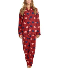 9b97549e7572 Angelina Burgundy Hearts Fleece Pajama Set - Plus Too