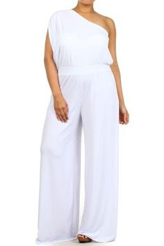 3f1a5bff6a6 Plus Size One Shoulder Wide Leg Dress Jumpsuit Palazzo Pants Suit