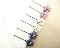 2 Pastel Purples Flower Hair Pins by priya123 on Etsy, $7.00
