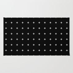 White Plus on Black /// www.pencilmeinstationery.com Area & Throw Rug