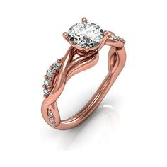 rose gold engagement rings,anniversary ring, style 123RGDM ($1,015) ❤ liked on Polyvore featuring jewelry, rings, rose gold engagement rings, red gold engagement rings, red gold ring, pink gold rings and pave setting ring