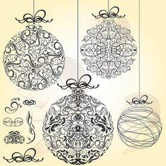 Christmas Baubles Vintage Retro Heritage Old World Flourish LARGE Xmas Bauble Ornaments Graphics Black Clip Art DIY Christmas Card 10037