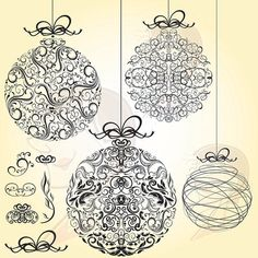 Christmas Baubles Vintage Retro Heritage Old World Flourish LARGE Xmas Bauble Ornaments Graphics Black Clip Art DIY Christmas Card 10037