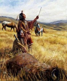 """Crow hunters give thanks to the Great Spirit after a successful buffalo hunt in """"The Sacred Bounty"""