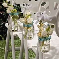 Mason Jar Chair Decorations 1. Purchase colored wire from your local craft store. 2. Wrap wire around jar, leaving enough for a hanger. 3. Fill jars with water and your favorite flowers. 4. Attach jars to chairs with wire and then tie ribbons over the wire.