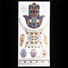 1pc Metallic Gold Silver Tattoo Temporary Flash Decal Indian Henna Women Body Art Palm Feather Waterproof GM-T026 Tattoo Sticker #Affiliate