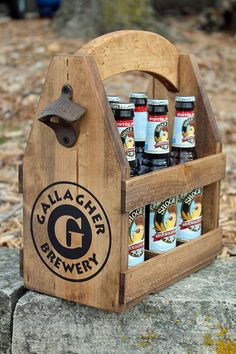 Handcrafted rustic wood beer tote is custom crafted by hand, one by one. A gift for a special person or couple that loves beer but also can