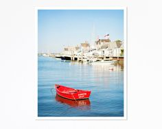 Vibrant Red Boat in Nantucket Harbor by KimLucianPhotography, $15.00