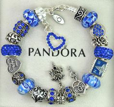 Authentic pandora silver charm bracelet with charms blue RN nursing special gift #Pandoralobsterclaspclaw #European