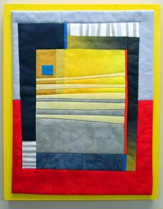 Essentials #3 Hand dyed cottons, fused, machine quilted, mounted on painted wood panel. 11x14""