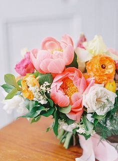 Coral and Colorful Bridal Bouquet