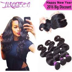Brazilian virgin hair with closure queen hair products brazilian body wave 3 bundles with closure human hair weave with closure