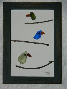 Trio of Birds on Branch in 5 x 7 black shadow by RockyCoastDesigns
