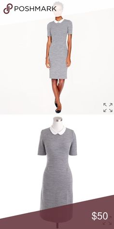 J. Crew Peter Pan Collar Dress Gray Size 2 J. Crew Peter Pan Collar Dress Gray Size 2                           PRODUCT DETAILS Inspired by our Peter Pan collar tee, we created a dress version in a stretchy knit wool. It's what we wear when we don't know what to wear.  Wool/nylon with silk collar. Back zip. Dry clean. Import. Item 03346. J. Crew Dresses