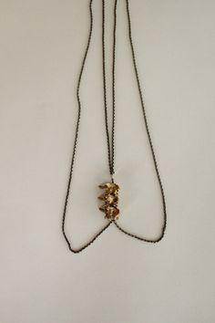 ON SALE 20% OFF Brass Vertebra Necklace, Animal Taxidermy, Double Chain. $96.00, via Etsy.