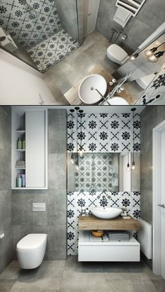 Home Designing — (via Grey And White Bathroom) - Toilettenideen Bathroom Design Small, Bathroom Layout, Bathroom Interior Design, Modern Bathroom, Interior Design Living Room, Bad Inspiration, Bathroom Inspiration, Wc Decoration, Gray And White Bathroom