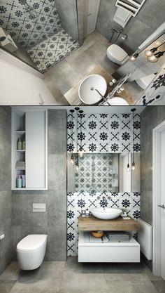 Home Designing — (via Grey And White Bathroom) - Toilettenideen Small Bathroom, Small Bathroom Decor, Bathroom Decor, Bathroom Makeover, Gray And White Bathroom, Bathroom Design Small, Bathroom Inspiration Decor, White Bathroom, Toilet Design