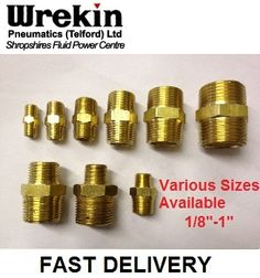 BRASS HEX NIPPLE BSPT X BSPT PNEUMATIC EQUAL & REDUCING AVAILABLE VARIOUS SIZES   eBay