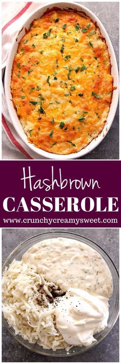 Hashbrown Casserole Recipe - creamy and cheesy bake with just a few ingredients! www.crunchycreamysweet.com