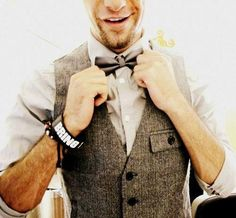 Vest + bow tie = Perfect Dapper Summer Accessories!! http://www.kjbeckett.com/mens/accessories/bow-ties.html #dapper #summerstyle