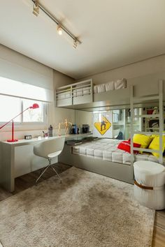 The most fun sleepover or shared young sibling bedroom furniture in the world and there are some really spectacular designs right now! Room Design Bedroom, Kids Room Design, Home Room Design, Small Room Bedroom, Modern Bedroom Design, Bedroom Decor, Bunk Bed Rooms, Bunk Bed With Desk, Sibling Bedroom
