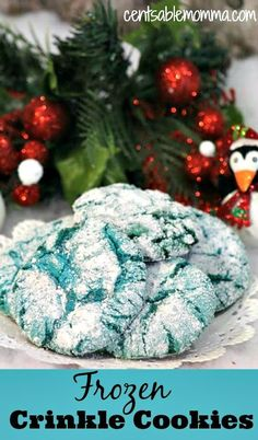 This Crinkle Cookie recipe is perfect for the Frozen fan.  Made using a box cake mix, they're easy to make.  Plus, the colors can be adjusted to any color you want - even red, white, and blue for the 4th of July or red and green for Christmas.