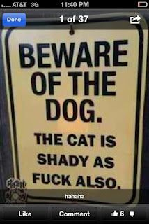 LMAO...This just made me choke on my coffee! My Stepmom needs this sign for her crazy cat, Godfrey!