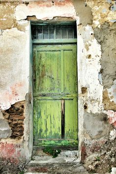 Bolotana, Sardinia, Italy Distressed but standing! Door Entryway, Cool Doors, Antique Doors, Entrance Gates, Painted Doors, Door Knockers, Architectural Elements, Doorway, Stairways