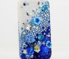 Bling Crystals Phone Case for iPhone 6, iPhone 6 PLUS, iPhone 4, 5, 5S, 5C, Samsung Note 2, Note 3, Note 4, Galaxy S3, S4, S5, S6, S6 Edge, HTC ONE M9 (PEARLS WITH DEEP BLUE DESIGN) By LuxAddiction