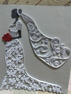 Quilling wall painting chart Fairy of flowe - Quilling Paper Crafts Paper Quilling Patterns, Quilled Paper Art, Paper Owls, Quilling Paper Craft, Quilling Ideas, Quilling Work, Quilling Flowers, Paper Crafts Wedding, Craft Wedding