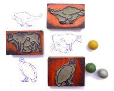 Tampons scolaires vache fermière oie dindon vintage - Timbres en caoutchouc français 1950 animaux ferme - Cachets rubber stamp scrapbooking