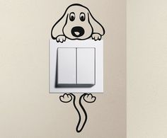 For light switch decal puppy make several color choices of vinyl Simple Wall Paintings, Wall Painting Decor, Wall Stickers, Vinyl Decals, Wall Decals, Wall Art, Cute Dog Cartoon, Simple Cartoon, Baby Cartoon