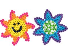 The smiling sun helps the flowers grow in the garden. Create your own garden with these two fun designs in Perler Beads!