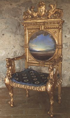 Armchair with Landscape Painted for Gala's Chateau at Pubol, Salvador Dali Realism Art Salvador Dali Kunst, Salvador Dali Artwork, Les Religions, Spanish Artists, Shades Of Gold, Art Database, Realism Art, Les Oeuvres, Landscape Paintings