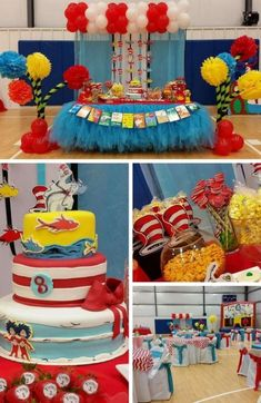 Dr Seuss Party Ideas, First Birthday Dr Seuss Theme, Dr Seuss Party, Dr Seuss Party Decorations, Seuss Baby Shower, Thing 1 Thing 2