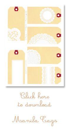 free : doilies + manila tags: 6 gift tags