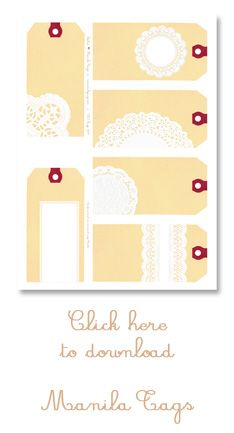 Need to find Part 1  *** FREE PRINTABLE [ PART 2]: Doilies + Manila Tags: 6 gift tags ***