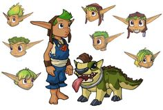 View an image titled 'Young Jak & Dog Art' in our Jak II art gallery featuring official character designs, concept art, and promo pictures. Character Reference, Character Design References, Pose Reference, Game Character, Jak & Daxter, Cartoon Video Games, Paint Line, Game Concept Art, Epic Games